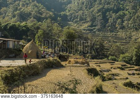 Family At A Rural Farm In The Nepalese Mountains, Annapurna Circuit