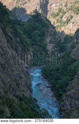 Jagat Mountain Village In Lamjung District, Annapurna Circuit, Nepal Over Marshyangdi River, In Beau