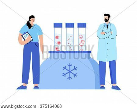 Woman And Man Egg Cell Cryopreservation. Doctor And Gynecologist. Embryo And Sperm Icon In Tube. Fer