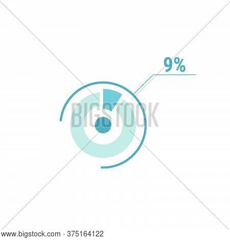 Nine Percent Chart Pie, 9 Percent Circle Diagram, Vector Design Illustration, Blue On White Backgrou