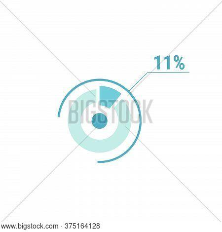 11 Eleven Percent Vector Circle Chart, Percentage Diagram Graph For Web Ui Design, Flat Vector Illus