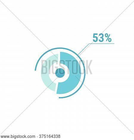 Circle Diagram Fifty Three Percent Pie Chart 53. Circle Percentage Vector Diagram. Flat Vector Illus