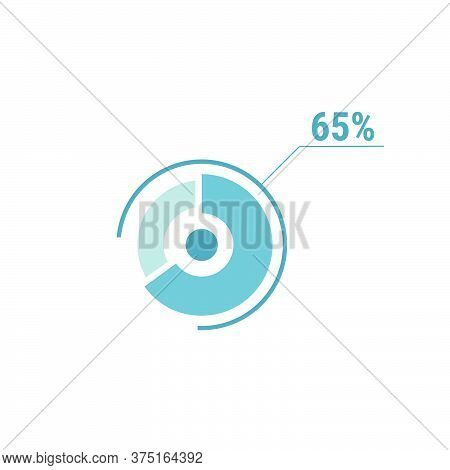 65 Sixty Five Percent Vector Circle Chart, Percentage Diagram Graph For Web Ui Design, Flat Vector I