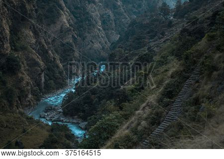 Beautiful Marshyangdi River Flowing Through A Canyon Valley, Annapurna Circuit, Nepal