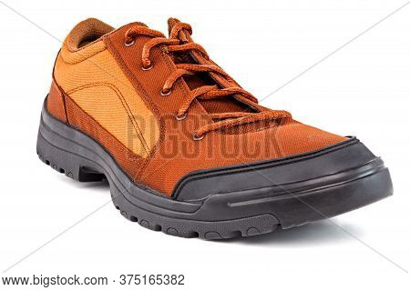 One Right Cheap Orange Fabric Hiking Or Hunting Shoe Isolated On White Background