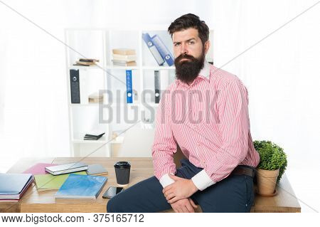 Rent Office. Office Worker Formal Suit. Managing Project. Doing Business. Man Launched Startup Proje