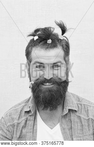 I Am My Own Stylist. Funny Portrait Of Man With Funny Hairstyle. Barbershop And Hairdresser. Happy F
