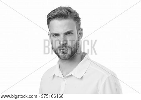 Modern Beauty Standards. Confident Young Man. Man With Bristle Isolated On White. Male Beauty And Fa