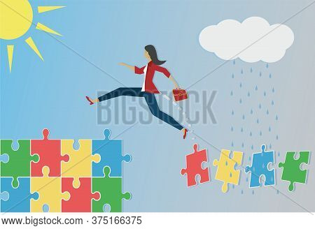 Woman Jumping To Better Circumstances, From Unsafe Puzzle To Stability. Vector Illustration.