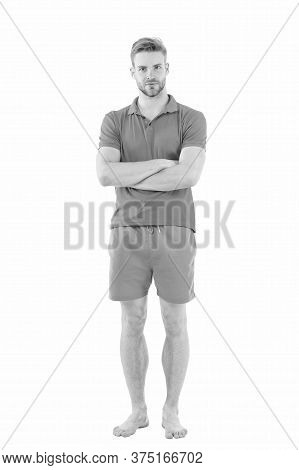 Commit To Be Fit. Fit Man Isolated On White. Strong Guy Wear Fitness Uniform. Barefoot Sportsman Or