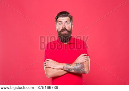 Perfect Male. Portrait Of Bearded Man Red Background. Brutal Caucasian Guy With Mustache. Hipster Wi