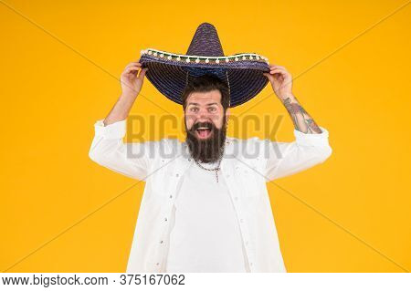 Summer Festival. National Holidays. Mexican Hat Sombrero. Guy Happy Festive Outfit. Spanish Costume.