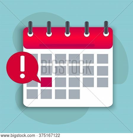 Calendar Icon On A Turquoise Background. Reminder Of An Important Event. Calendar With Tear-off Shee