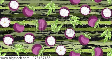 Exotic Fruit Mangosteen, Halves And Leaves On Watercolor Brush Stripes Seamless Pattern. Trend Desig