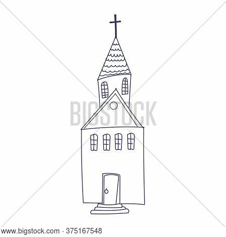 Hand Drawn Doodle Christian Building Church Icon With Catholic Cross Vector Illustration Sketchy Tra