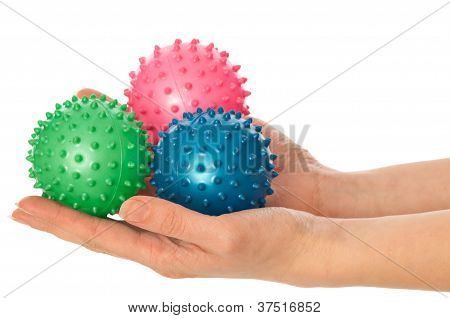three colored massage balls