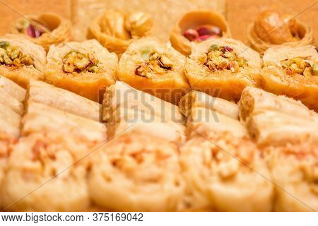 Sweet Food Industry. Tasty Sweet Baklava. Turkish Ramadan Dessert Baklava Presented. Sweet Food Back