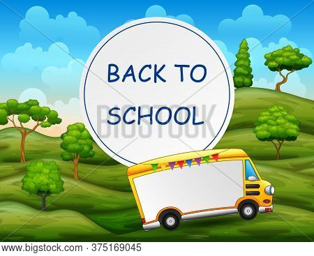 Border Template Design Back To School With School Bus