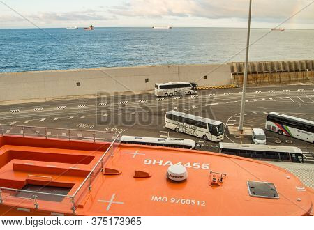 Italy, Civitavecchia, October 07, 2018. View Of The Pier And Parking Of Tourist Buses, From The Deck