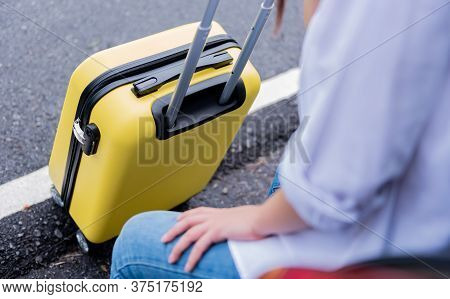 Woman With Luggage. Travel Solo And Outdoor Activities Alone On Summer Holiday. Social Distancing An