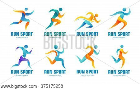 Set Of Sports Logos, Running Logo With Abstract Shapes