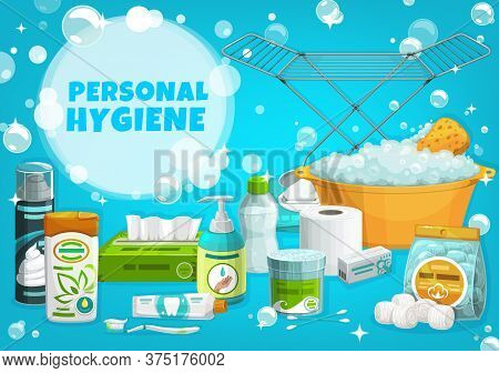 Personal Hygiene, Health, Body Care Vector Banner. Shaving Foam And Shampoo, Toothpaste And Toothbru
