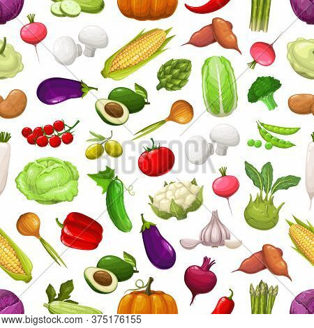 Farm Vegetables And Greenery Seamless Pattern. Vector Avocado, Asparagus, Chili And Bell Pepper, Egg