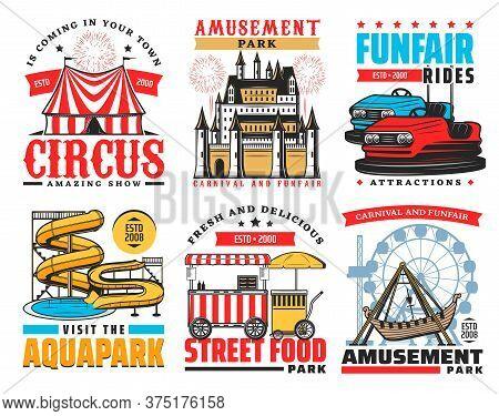 Funfair And Amusement Park Vector Icons. Big Top Circus, Karting Rides Attraction, Aquapark Water Sl