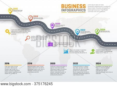 Business Infographics, Stages Of Road Or Pathway, Development Per Year. Vector Infographics Report W