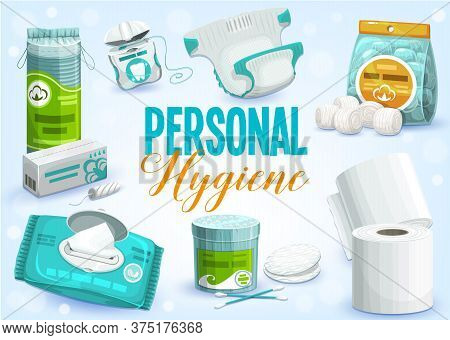 Personal Hygiene Products Vector Design Of Toilet Paper Rolls, Cleansing Towel Or Wet Wipes, Cotton