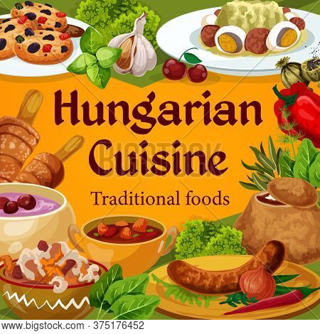 Hungarian Cuisine Vector Dishes Sausages With Sauce And Onion, Salad With Egg, Traditional Vegetable