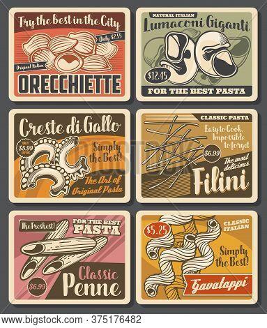 Italian Pasta Retro Posters, Vector Macaroni Orecchiette, Lumaconi Giganti And Creste Di Gallo, Fili