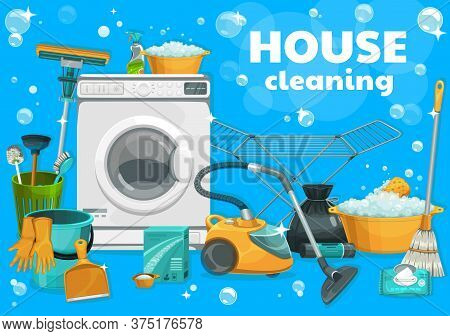 House Cleaning And Laundry Supplies, Vector. Housework Tools Washing Machine, Laundry And Home Wash