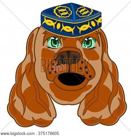 Cartoon Of The Head Animal Dog In Uzbek Headdress