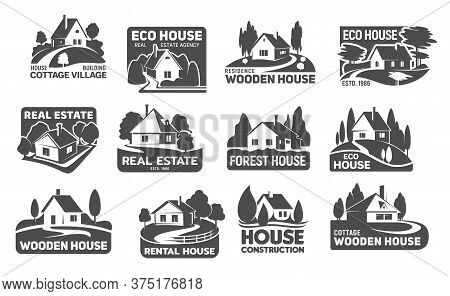 Wooden Eco Houses, Real Estate Buildings Vector Icons. Cottage Silhouettes With Trees And Lawn, Gard
