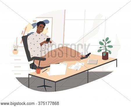 Cheerful Black Guy Chatting Use Smartphone During Work Vector Flat Illustration. Smiling Male Puttin