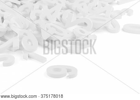 White Random Digit Numbers Heap Background Over White Background, Algebra, Education Or Science Conc
