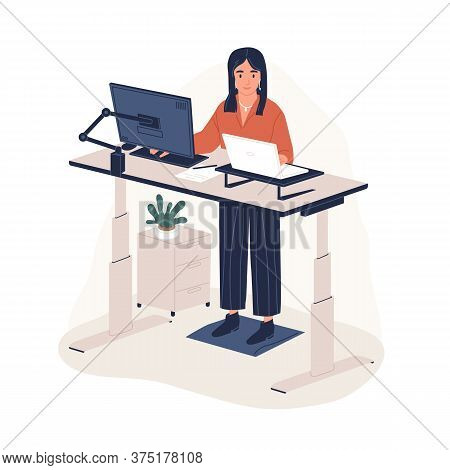 Smiling Woman Employee Working At Ergonomic Workstation Vector Flat Illustration. Contemporary Offic