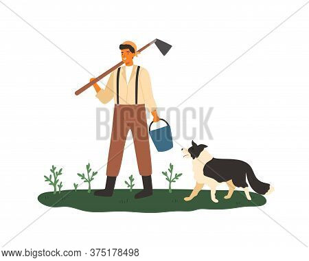 Cute Male Farmer Holding Hoe And Bucket Vector Flat Illustration. Smiling Agricultural Worker Standi