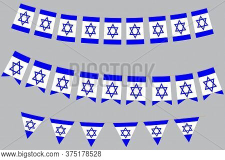 Flags Of Israel. Independence Of The State Of Israel. Symbol Of The Day Of Israel. Illustration Of T