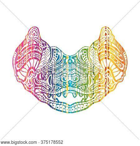 Zentangle Bat For Tattoo In Boho, Hipster Style. Ornamental Tribal Patterned Illustration For Adult