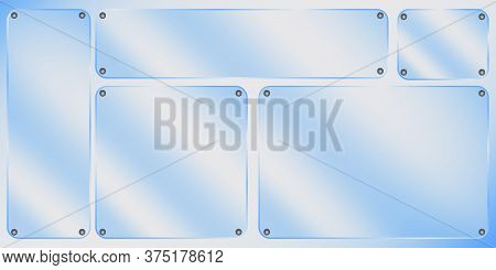 Sign Of Glossy Plexiglass. Acrylic Plaque From Plexi. Rectangular Glass Texture. Realistic Blank Pan