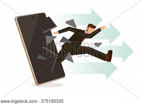 Businessman Breaks Surface Of Smartphone Monitor. Concept Of Business, Technology, Leadership, Or Ma