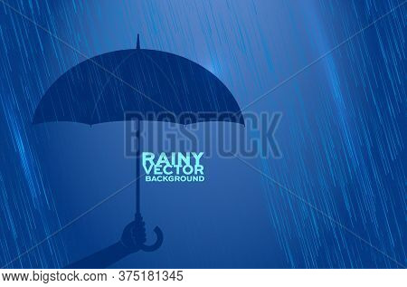 Silhouette Of Hand Holding Umbrella In Rain - Copy Space For Your Text. Vector Illustration.