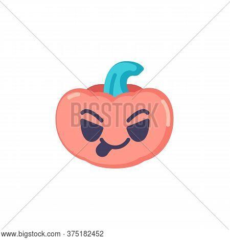 Pumpkin Emoticon Stuck Out Tongue Flat Icon, Vector Sign, Pumpkin Face Savoring Food Emoji Colorful