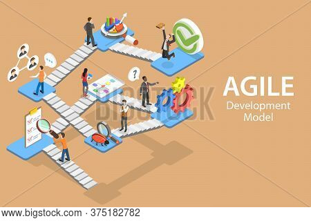 Isometric Flat Vector Concept Of Agile Software Development Methodology.