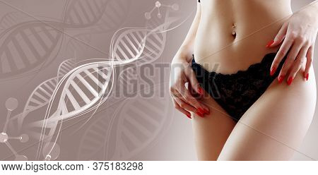 Woman With Perfect Belly Near Dna Stems. Slimming Concept. Improvement Of Metabolism Concept