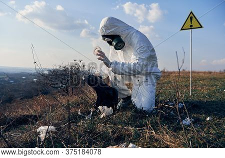 Side View Of Environmentalist Wearing White Protective Suit, Gas Mask, Crouching Collects Garbage In