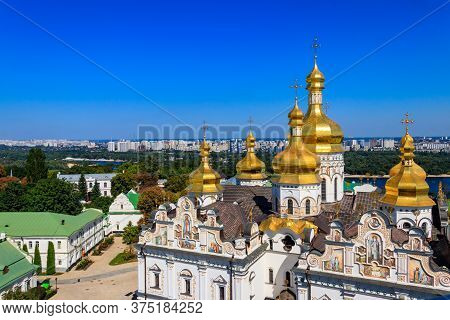 View Of Dormition Cathedral Of The Kyiv Pechersk Lavra (kiev Monastery Of The Caves) And The Dnieper
