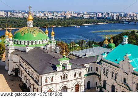 View Of The Refectory Church Of Kiev Pechersk Lavra (kiev Monastery Of The Caves) And The Dnieper Ri